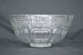 Large Heisey Greek Key Punch Bowl