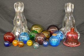 18 Pieces Of Antique Glassware Includes Blue Shaker,
