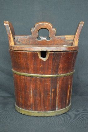 "Brass Bound Wooden Chinese Lidded Water Bucket 13""t X"