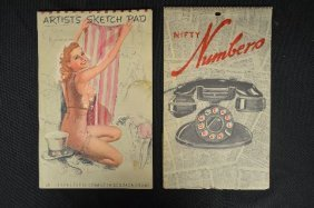 """2 Vintage Pinup Books. """"nifty Numbers"""" And """"artists"""