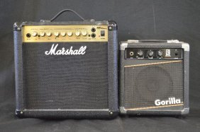 Marshal Mg15dfx Amplifier And A Small Gorilla Amplifier