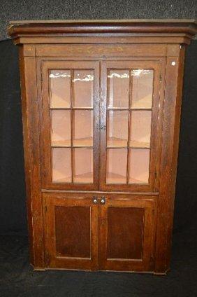 Antique Grain Painted Corner Cupboard