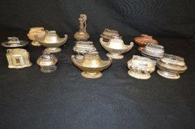 Fourteen Vintage Ronson Metal Table Lighters