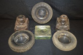 Three Tire Form Advertising Ashtrays, Two Sengbusch