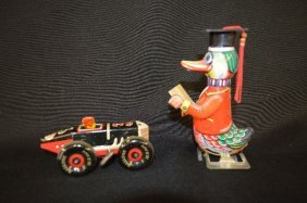 Marx Tin Litho Sports Car And A Walking Tin Litho Duck