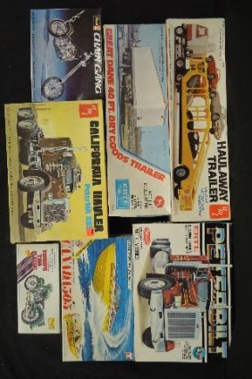 7 Misc Unmade Vintage Models, Boat , Trucks Motorcycles