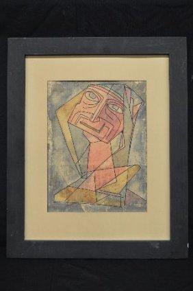 Cubist Self Portrait Water Color By John Murray Barton;