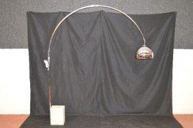 Mid Century Modern Arc Chrome Floor Lamp W/ Heavy Stone