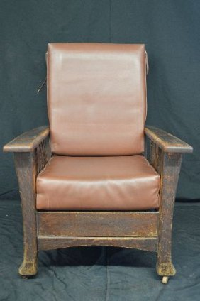 1920's Mission Oak Royal Easy Chair, Mechanical Morris