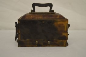 Antique Delicate Tortoise Shell Four Part Trinket Box