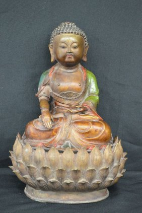Painted Bronze Antique Budha On Lotus Flower