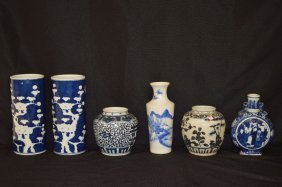 6 Pieces Chinese Blue And White Porcelain