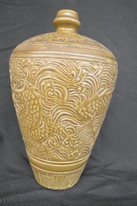 Carved Chinese Stoneware Vase With Dragon