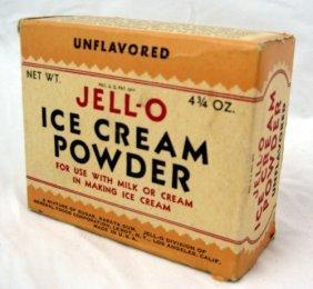 1920's Nos Box Jell-o Ice Cream Powder & Ad