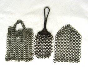 3 Early Chain Mail Pot Scrapers