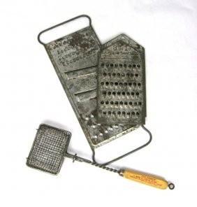 3 Early Tin Food Graters & Soap Saver