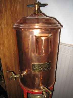 3065 antique barber shop hot water dispenser towel wa for Copper hot water tank