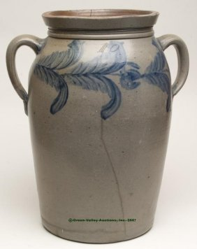 MID-ATLANTIC DECORATED SALT-GLAZED STONEWARE MONU