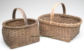 VIRGINIA WHITE OAK SPLINT BASKETS, LOT OF TWO, Bo