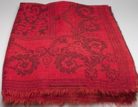 UNSIGNED AMERICAN JACQUARD COVERLET, Red And Mute