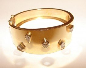 14K Y Gold Diamond Hinge Cuff Bangle Bracelet.