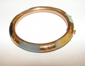 14K Yellow Gold And Jade Hinged Bangle Bracelet.