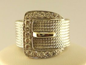 14K White Gold Buckle  Ladies Ring.