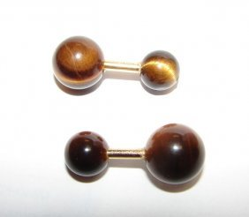 Pair (2) 14K Yellow Gold Tiger' Eye Cuff Links.