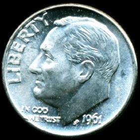 1961d Fdr Silver 10c Gem Unc Full Bands