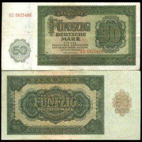 1948 E Germany 50 Mk Note Hi Grade Rare Variety  ES