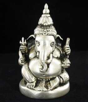 India Nickel Plated Ganesh Temple Piece EST: $72 -