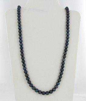 Black Iridescent Top Saltwater Pearl Necklace EST: