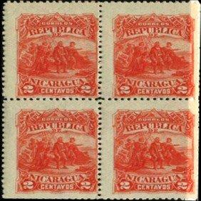 1892 Nicaragua 2c UPU Block Of 4 EST: $18 - $36 (ST