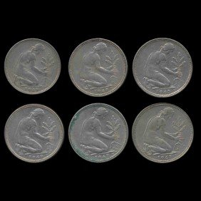 1962-69 Germany 50 Pfg Hi Grade Scarce 6 Pcs EST: $