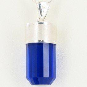 78twc Blue Quartz Sterling Pendant