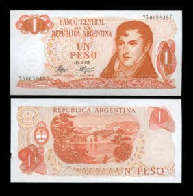 1970 Argentina 1 Peso Note Crisp Uncirculated EST: