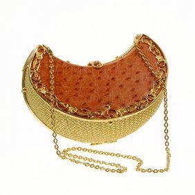Ostrich Egg Lemon Wedge Shaped Clutch Purse EST: $5