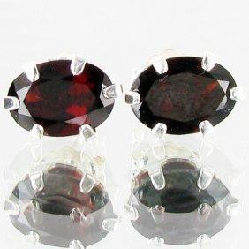 4.41twc Red Garnet Sterling Earrings EST: $54 - $10