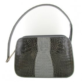Ladies Dark Brown/Gray Crocodile Handbag