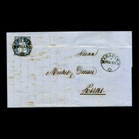 1863 Switzerland 10c Stamp Cover SCARCE