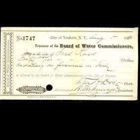 1880 Yonkers NY Water Board Bank Draft