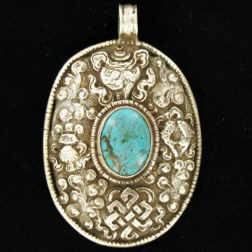 125twc Tibet Silver HEAVY Vintage Turquoise Pendan