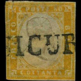 1855 RARE Italy Sardina 80c Stamp