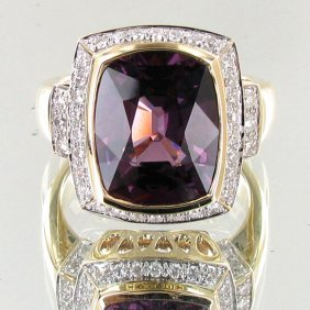 7.29ct Grape Spinel Diamond 14k Ring