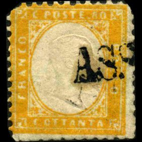1862 RARE Italy 80c Stamp