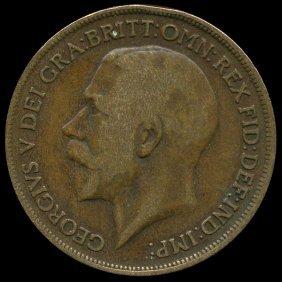 1919 British Geo V 1p F/VF ERROR