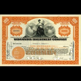 1930s Wisc. Investment Co. Certificate Orange SCARC