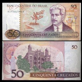 1986 Brazil 50 Crusados Crisp Uncirculated Note