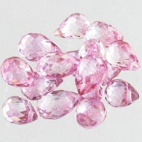10.2ct Pink Topaz Briolette Parcel