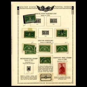 1912 US Stamp Album Page 9pcs